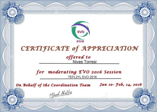 EVO 16 Certificate